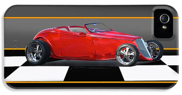 Checker Board iPhone 5 Cases - 1933 Ford Little Red Roadster iPhone 5 Case by Dave Koontz