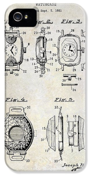 Pieces iPhone 5 Cases - 1933 Watch Case Patent Drawing  iPhone 5 Case by Jon Neidert