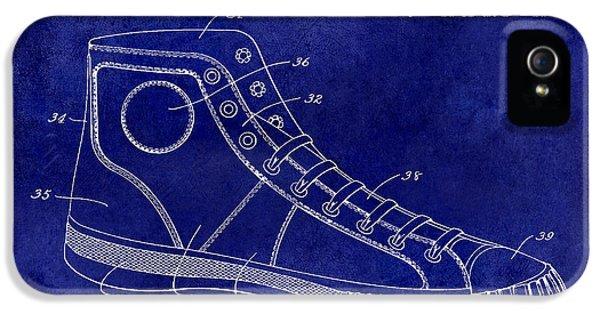 Michael Jordan iPhone 5 Cases - 1934 Converse Shoe Patent Drawing Blue iPhone 5 Case by Jon Neidert
