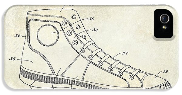 Michael Jordan iPhone 5 Cases - 1934 Converse Shoe Patent Drawing iPhone 5 Case by Jon Neidert