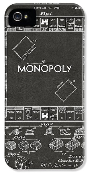Monopoly iPhone 5 Cases - 1935 Monopoly Game Board Patent Artwork - Gray iPhone 5 Case by Nikki Marie Smith