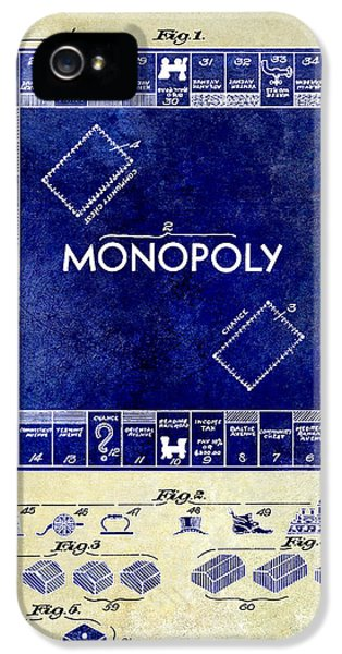 Monopoly iPhone 5 Cases - 1935 Monopoly Patent Drawing 2 Tone  iPhone 5 Case by Jon Neidert
