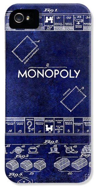 Monopoly iPhone 5 Cases - 1935 Monopoly Patent Drawing Blue iPhone 5 Case by Jon Neidert