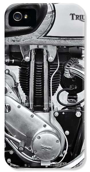 1936 iPhone 5 Cases - 1936 Triumph Tiger 80 Monochrome iPhone 5 Case by Tim Gainey