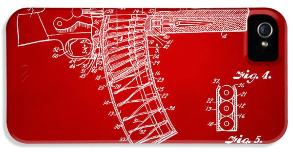 X-ray iPhone 5 Cases - 1937 Police Remington Model 8 Magazine Patent Minimal - Red iPhone 5 Case by Nikki Marie Smith