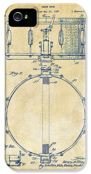 Engineer iPhone 5 Cases - 1939 Snare Drum Patent Vintage iPhone 5 Case by Nikki Marie Smith