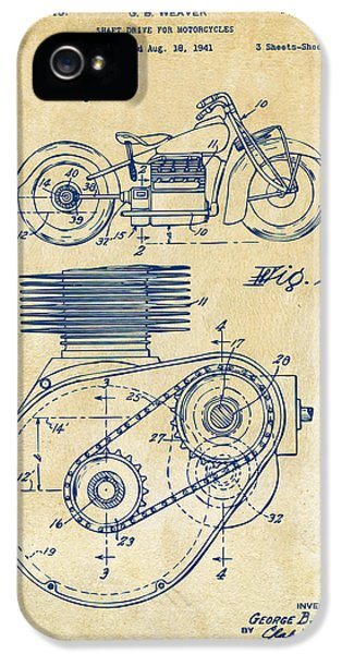 1941 Indian Motorcycle Patent Artwork - Vintage IPhone 5 / 5s Case by Nikki Marie Smith