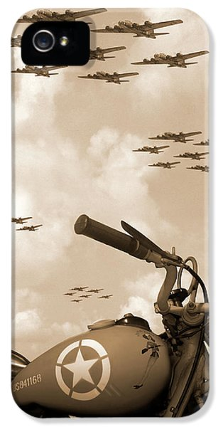B iPhone 5 Cases - 1942 Indian 841 - B-17 Flying Fortress iPhone 5 Case by Mike McGlothlen