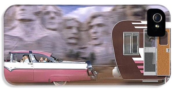 Trailer iPhone 5 Cases - 1950s Family Vacation Panoramic iPhone 5 Case by Mike McGlothlen