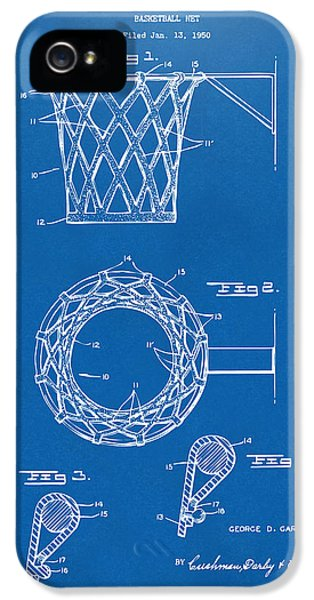 Engineer iPhone 5 Cases - 1951 Basketball Net Patent Artwork - Blueprint iPhone 5 Case by Nikki Marie Smith