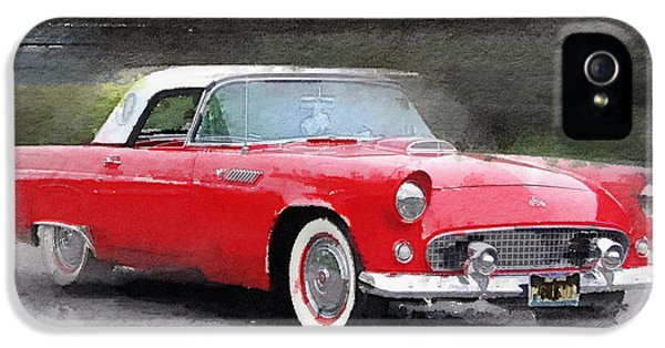 Ford Classic Car iPhone 5 Cases - 1955 Ford Thunderbird Watercolor iPhone 5 Case by Naxart Studio