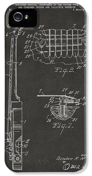 Acoustic iPhone 5 Cases - 1955 McCarty Gibson Les Paul Guitar Patent Artwork 2 - Gray iPhone 5 Case by Nikki Marie Smith