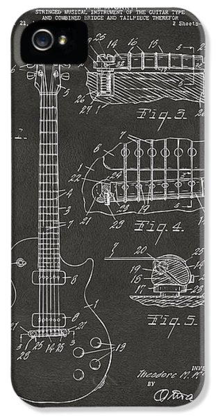 Engineer iPhone 5 Cases - 1955 McCarty Gibson Les Paul Guitar Patent Artwork - Gray iPhone 5 Case by Nikki Marie Smith