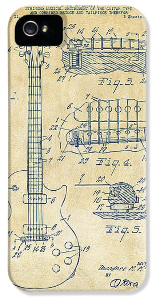 Engineer iPhone 5 Cases - 1955 McCarty Gibson Les Paul Guitar Patent Artwork Vintage iPhone 5 Case by Nikki Marie Smith