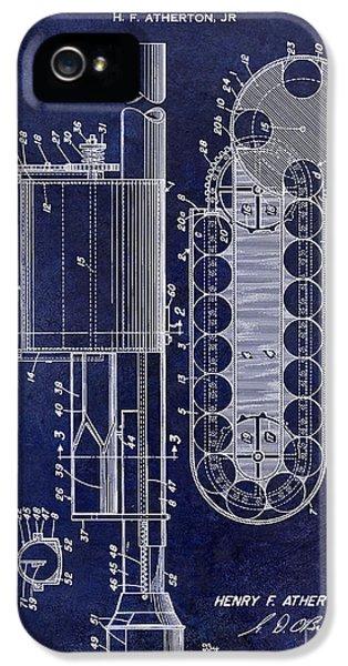 Rockets iPhone 5 Cases - 1955 Rocket Launcher Patent Drawing Blue iPhone 5 Case by Jon Neidert