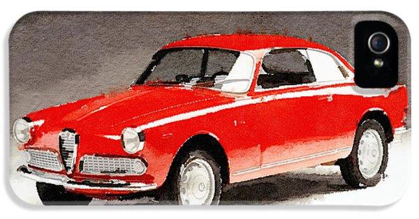 Alfa Romeo iPhone 5 Cases - 1958 Alfa Romeo Giulietta Sprint Watercolor iPhone 5 Case by Naxart Studio