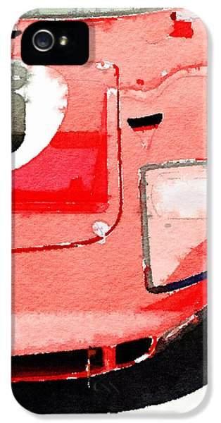 Ford Classic Car iPhone 5 Cases - 1964 Ford GT40 Front Detail Watercolor iPhone 5 Case by Naxart Studio