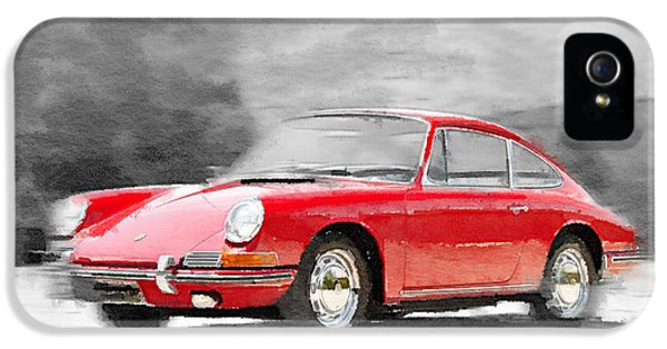 German Classic Cars iPhone 5 Cases - 1964 Porsche 911 Watercolor iPhone 5 Case by Naxart Studio