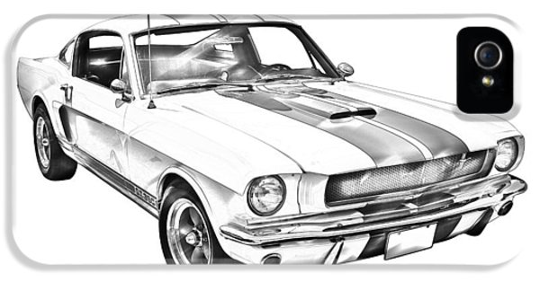 Ford Classic Car iPhone 5 Cases - 1965 GT350 Mustang Muscle Car Illustration iPhone 5 Case by Keith Webber Jr