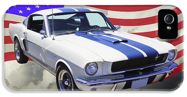Ford Classic Car iPhone 5 Cases - 1965 GT350 Mustang Muscle Car With American Flag iPhone 5 Case by Keith Webber Jr