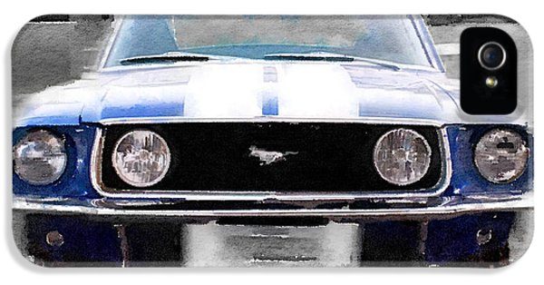 Ford Classic Car iPhone 5 Cases - 1968 Ford Mustang Front End Watercolor iPhone 5 Case by Naxart Studio