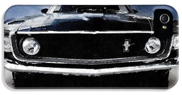 Ford Classic Car iPhone 5 Cases - 1968 Ford Mustang Shelby Front Watercolor iPhone 5 Case by Naxart Studio