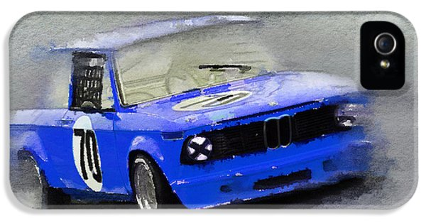 Bmw iPhone 5 Cases - 1969 BMW 2002 Racing Watercolor iPhone 5 Case by Naxart Studio