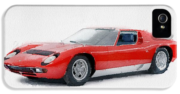 Italian Classic Car iPhone 5 Cases - 1969 Lamborghini Miura P400 S Watercolor iPhone 5 Case by Naxart Studio