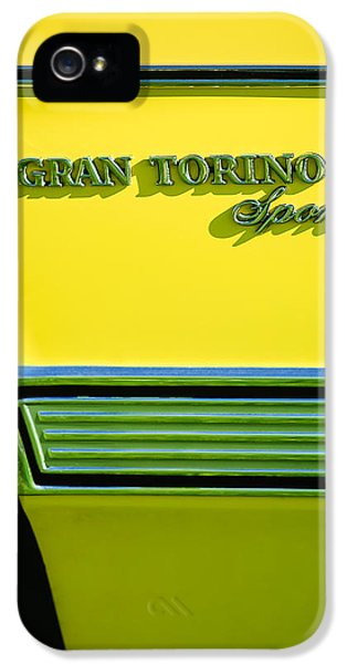 1972 iPhone 5 Cases - 1972 Ford Gran Torino Sport Emblem iPhone 5 Case by Jill Reger
