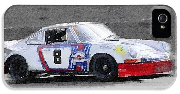 Porsche 911 iPhone 5 Cases - 1973 Porsche 911 Watercolor iPhone 5 Case by Naxart Studio