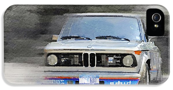 Bmw iPhone 5 Cases - 1974 BMW 2002 Turbo Watercolor iPhone 5 Case by Naxart Studio