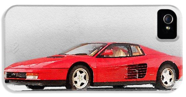 Ferrari iPhone 5 Cases - 1983 Ferrari 512 Testarossa iPhone 5 Case by Naxart Studio
