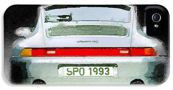Porsche 911 iPhone 5 Cases - 1993 Porsche 911 Rear Watercolor iPhone 5 Case by Naxart Studio
