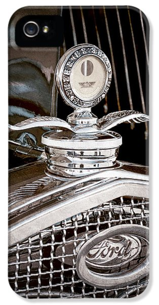 1931 Roadster iPhone 5 Cases - 1931 Model A Ford Deluxe Roadster Hood Ornament iPhone 5 Case by Jill Reger