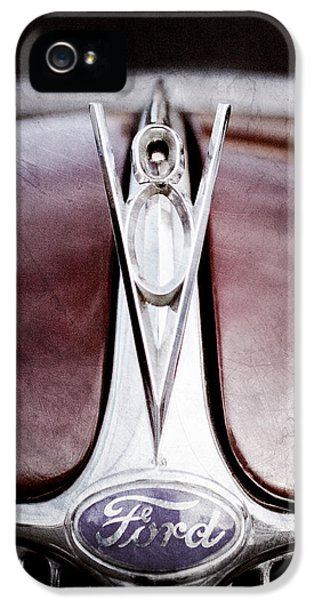 1936 iPhone 5 Cases - 1936 Ford Phaeton V8 Hood Ornament - Emblem iPhone 5 Case by Jill Reger