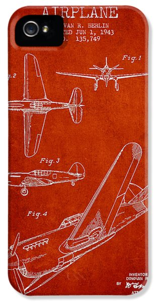 Airplane iPhone 5 Cases - Airplane patent Drawing from 1943 iPhone 5 Case by Aged Pixel