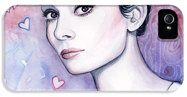 Audrey Hepburn Fashion Watercolor IPhone 5 / 5s Case by Olga Shvartsur