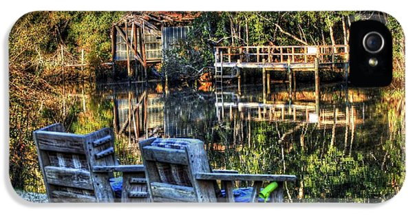 Micdesigns iPhone 5 Cases - 2 Chairs on the Magnolia River iPhone 5 Case by Michael Thomas