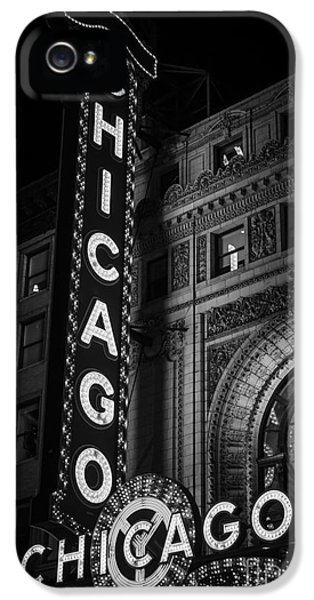Theater iPhone 5 Cases - Chicago Theatre Sign in Black and White iPhone 5 Case by Paul Velgos