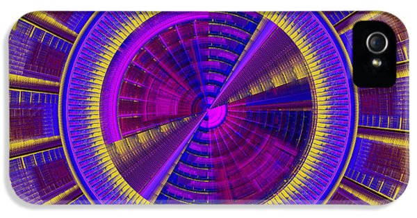 Disc iPhone 5 Cases - Futuristic Tech Disc Fractal Flame iPhone 5 Case by Keith Webber Jr