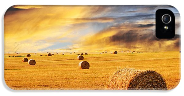 Round iPhone 5 Cases - Golden sunset over farm field with hay bales iPhone 5 Case by Elena Elisseeva