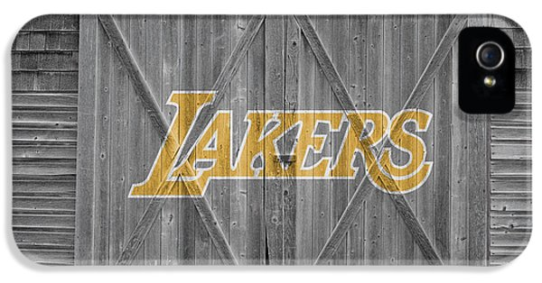 Lakers iPhone 5 Cases - Los Angeles Lakers iPhone 5 Case by Joe Hamilton