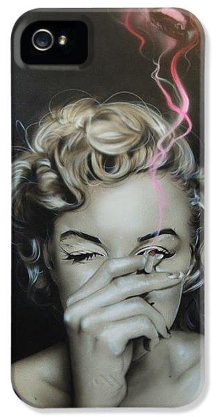 Marilyn Monroe - ' Marilyn's Crimson Haze ' IPhone 5 / 5s Case by Christian Chapman Art