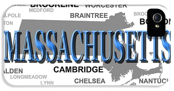 Massachusetts iPhone 5 Cases - Massachusetts State Pride Map Silhouette  iPhone 5 Case by Keith Webber Jr