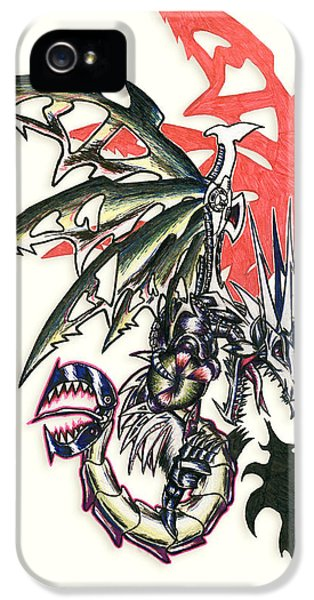 Mech iPhone 5 Cases - Mech Dragon Tattoo iPhone 5 Case by Shawn Dall