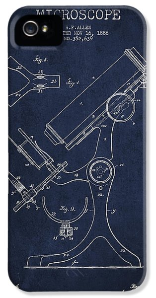 Device iPhone 5 Cases - Microscope Patent Drawing From 1886 - Navy Blue iPhone 5 Case by Aged Pixel