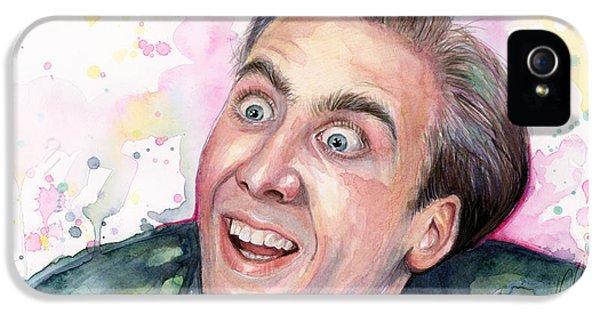 Nicolas Cage You Don't Say Watercolor Portrait IPhone 5 / 5s Case by Olga Shvartsur
