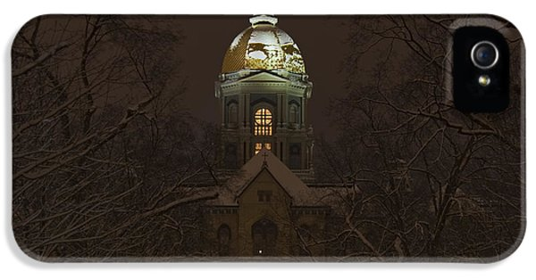 Irish iPhone 5 Cases - Notre Dame Golden Dome Snow iPhone 5 Case by John Stephens