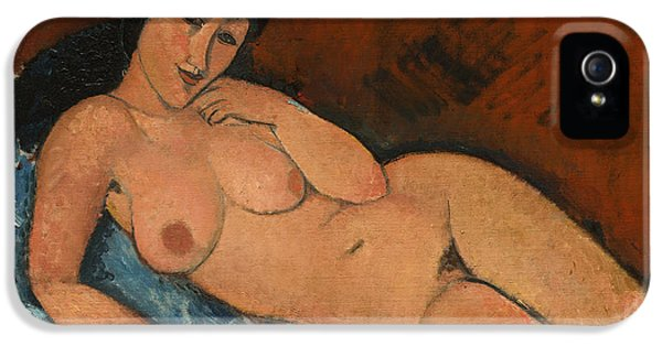Nudity iPhone 5 Cases - Nude on a Blue Cushion iPhone 5 Case by Amedeo Modigliani