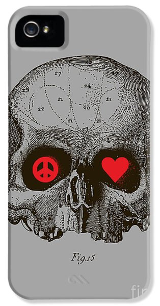 Skulls iPhone 5 Cases - Peace and Love iPhone 5 Case by Budi Kwan